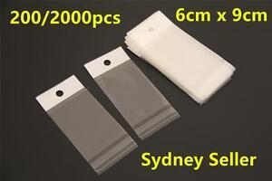200/2000x Self Adhesive Plastic Seal Bag W/Hang Hole Usable Space 5x7/6x9/7x10cm
