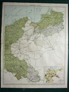 1919 LARGE MAP GERMANY EAST ~ INSET ECONOMICS SILK COTTON POMERANIA BRESLAU