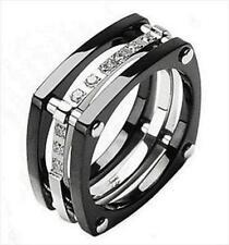 simulated diamond - Titanium Wedding Ring Sets