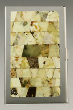 Genuine White BALTIC AMBER Mosaic Credit/Business Card CASE Holder 181002-19