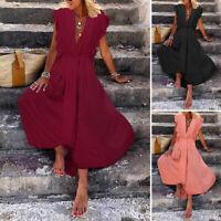 ZANZEA Women's Sleeveless Summer Tank Dress Frill Holiday Party Long Maxi Dress