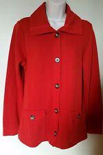 Studio Works Long Slv Burnt Orange Cardigan Sweater w/ 2 Pockets & Button Frt  M