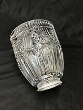 "Vtg Art Deco 'Holophane' CRYSTAL Lamp Shade Primitive Star Rib Glass 2 1/8 1/4"""