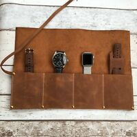 Personalised Leather Watch Roll up Brush roll Pencil Wrap Watch case Tool Case