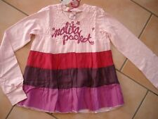 (189) NOLITA POCKET Girls Shirt Dans A-Forme Froncé + Logo Pression & Contraste gr.140