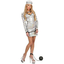 Ladies Prisoner Convict Costume Jailbird Cute Fancy Dress Inmate Sexy Outfit NEW