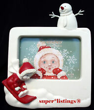 Dept. 56 Snowbabies on the Farm Picture Frame Baby Sledding 67507