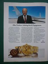 5/1985 PUB MONTRE WATCH ROLEX DAY-DATE GOLD ALLEN PAULSON GULFSTREAM GERMAN AD