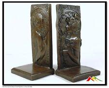 Pair of Art Nouveau Girl Bronze sculpture Bookends Signed Milo