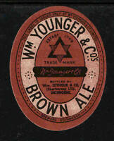 1920s - 1930s Wm YOUNGER & CO BROWN ALE BEER LABEL   GREAT COLORS !