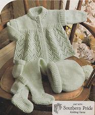 baby coat leggings hat and mittens set dk knitting pattern 99p