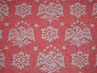 Vtg 80s Heritage Federal Eagle Stars Red White Quilt Sew Fabric 36x44 #ff100