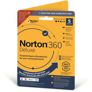 Norton 360 Deluxe 2021 - 3 Device / 5 Devices / 1 Year / VPN / 50 GB Cloud
