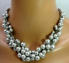 Necklace in Silvery Gray 18'' Charter Club Glass Fashion Pearl Cluster