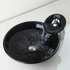 Hand Painting Black Round Glass Vanity Basin & Waterfall Mixer Tap Chrome Faucet
