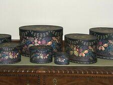 7 Nested Lang Bob'S Boxes Primitive Antique Theorem ~ Black Fruit Basket Design