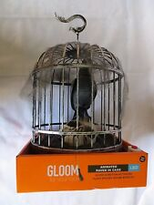 HALLOWEEN  ANIMATED TALKING RAVEN BLACK HANGING CAGE & LIGHTED SKULL   NEW