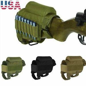 Tactical Rifle Buttstock Cheek Rest Shotgun Ammo Shell Mag Carrier Pouch Holder