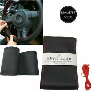 38 cm diameter universal DIY steering wheel cover black red line