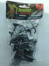 "14 Pieces Halloween Zombies Plastic Gray Zombie Army Men Figures 2"" Play Set NIB"