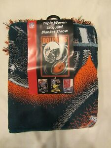"""NFL - Miami Dolphins Triple Woven Throw  Approx. 48"""" x 60""""  NEW  (1220)"""