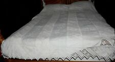 Antique Victorian c1800s White Embroidered Crochet Linen Bedspread 88x84