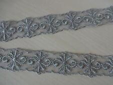 Nicht elastische bestickte Tüll Spitzenborte,Spitze,lace in taupe, 2,5cm breit