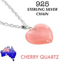 Cherry Quartz Natural Stone Heart Pendant 925 Sterling Silver Chain Necklace New