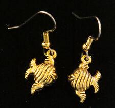 Angel Fish Earrings 24 Karat Gold Plate Beach Vacation Ocean Sea Coastal Retreat