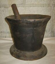 LARGE Antique Marked Black Cast Iron Mortar & Pestle 30lb Apothecary Druggist Rx