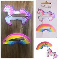 2 Hair Sleepies Unicorn + Rainbow Bendies Clip Slide Style Snap Grip Sleepy Girl