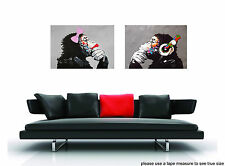 2x CANVAS lady girl  Art Print DJ MONKEY gorilla ape chimp PAINTING 70cm DIPTYCH
