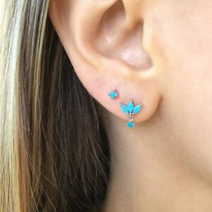 Single Stud Turquoise Lotus Tiny Sterling Silver Earrings Blue flower cartilage