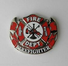 FIREFIGHTER FIRE DEPT MEDALLION WREATH LAPEL PIN BADGE 1 INCH