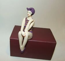 Bathing Beauty Figurine Figure Shelf Sitter Purple & Gold Stripe Pattern Mini