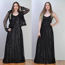 VTG 70s RUBEN PANIS Black SEQUIN + LACE Couture MAXI Party DRESS Gown + Jacket M