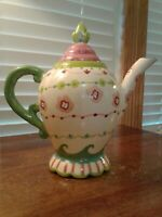 """Kimberly Hodges Cupcakes and Cartwheels Teapot 8"""" High x 9"""" Handle To Spout"""
