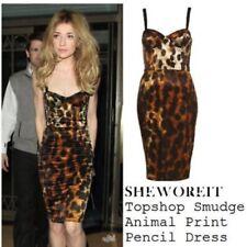 Topshop icónico Leopardo Animal Mancha Satinado Vestido Ceñido Al Cuerpo Con estructura Corsé 6 2 34 XS