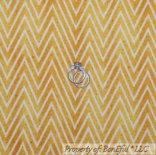 BonEful Fabric FQ Cotton Quilt VTG Gold Yellow Cream Chevron Thanksgiving Stripe