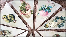 2m Vintage Style Easter Bunting/Banner with Cream Organza Ribbon