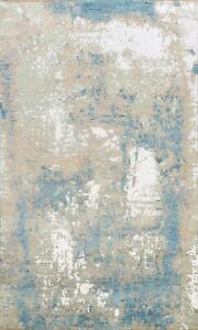 Contemporary Abstract Oriental Area Rug Wool/ Silk Hand-Knotted Foyer Carpet 5x7