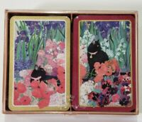 Vintage Double Deck Playing Cards Black Cat Floral