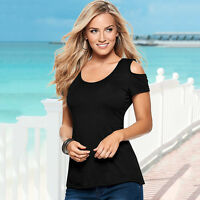 Plus Size Womens Summer Off Shoulder Tee T Shirts Short Sleeve Casual Top Blouse