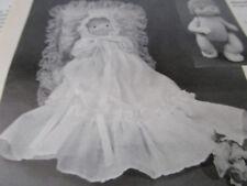 "Vtg 7"" Soft Baby Doll Pattern & Christening Dress Gown Pattern UNCUT/Huber"