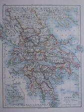 1918 Mappa Grecia Morea Achaia Argolis Arta Larissa Kephallenia
