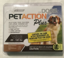 PetAction Plus Flea & Tick Treatment Dogs 89 To 132 lbs  3 Doses. NEW SEALED BOX