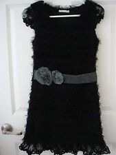 Korea Black Eyelashes Knit Dress with Flower Belt & Lace Sleeves & Bottom