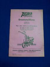 ORIGINAL liste pièces détachées pour Agria 4000 et 6000 allzweckhacke - rareté
