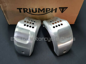 GENUINE TRIUMPH BONNEVILLE T120 16-20 BRUSHED SILVER AIR INTAKE COVERS T2306123