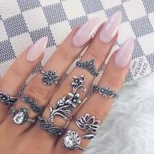 10 Pcs/Set Silver Women Crown Flower Knuckle Finger Ring Band Midi Rings Jewelry